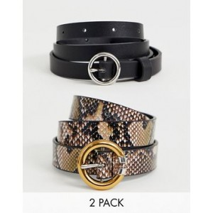 ASOS DESIGN 2 pack snake print circle buckle waist and hip belts