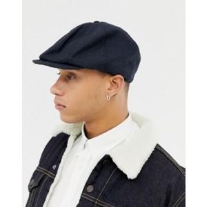 ASOS DESIGN baker boy hat in navy texture