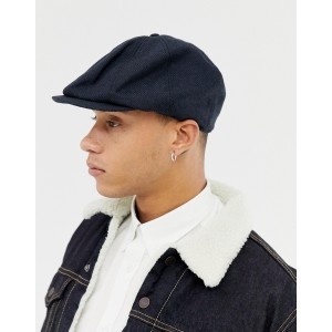 ASOS DESIGN baker boy hat in navy texture