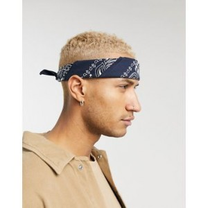 ASOS DESIGN bandana in organic cotton in navy paisley print