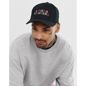 ASOS DESIGN baseball cap in black with lovers fighters embroidery