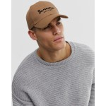 ASOS DESIGN baseball cap in camel with embroidery detail