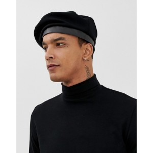 ASOS DESIGN beret in black with clasp front