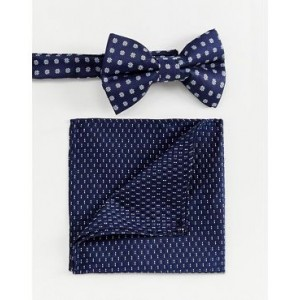 ASOS DESIGN bow wedding tie and pocket sqaure in ditsy floral
