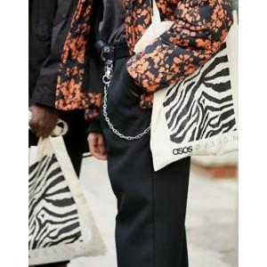 ASOS DESIGN branded tote bag in zebra print