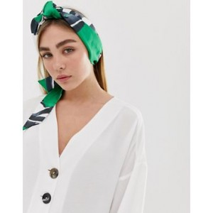 ASOS DESIGN bright green floral twist block headscarf