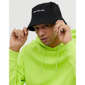 ASOS DESIGN bucket hat in black with slogan embroidery