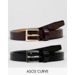 ASOS DESIGN Curve 2 pack skinny waist faux croc jeans belts