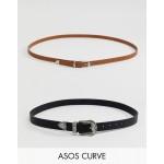 ASOS DESIGN Curve 2 pack western waist & hip belts