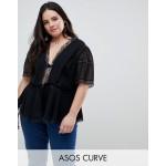 ASOS DESIGN Curve blouse with lingerie detail in black
