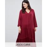 ASOS DESIGN Curve casual crinkle button through maxi dress