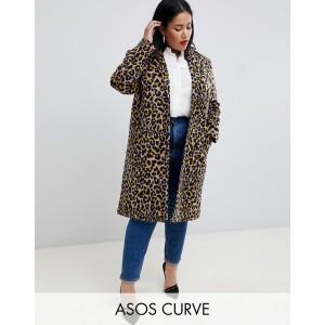 ASOS DESIGN Curve coat in leopard