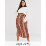 ASOS DESIGN Curve colored snake city maxi skirt with split