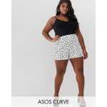 ASOS DESIGN Curve culotte short in mono polka dot