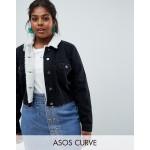 ASOS DESIGN Curve denim shrunken jacket with fleece collar in washed black