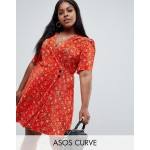 ASOS DESIGN Curve ditsy print plisse mini dress with button detail