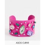 ASOS DESIGN Curve exclusive cuff bracelet in colour pop design with rainbow jewels