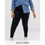 ASOS DESIGN Curve Farleigh slim mom jeans in clean black