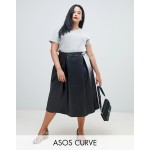 ASOS DESIGN Curve leather look full midi skirt with box pleats