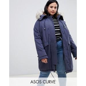 ASOS DESIGN Curve luxe parka with faux fur trim