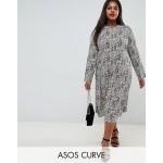 ASOS DESIGN Curve midi smock dress in animal print