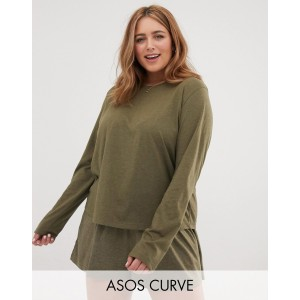 ASOS DESIGN Curve mix & match marl long sleeve pyjama jersey t-shirt