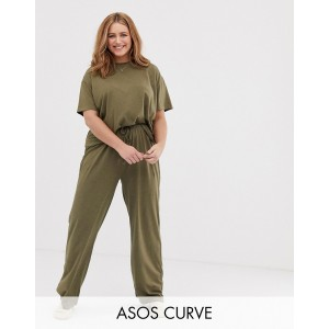 ASOS DESIGN Curve mix & match marl pyjama jersey pants