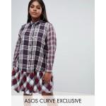 ASOS DESIGN Curve mixed check print pep hem mini shirt dress with long sleeves
