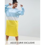 ASOS DESIGN Curve oversize midi sweat dress in dip dye print
