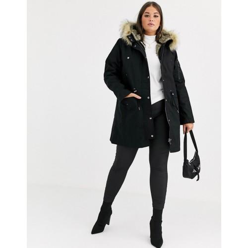 ASOS DESIGN Curve parka with detachable faux fur liner