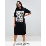ASOS DESIGN Curve photographic midi t-shirt dress