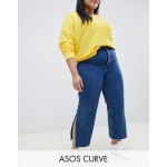 ASOS DESIGN Curve Recycled Florence authentic straight leg jeans with side splits in rich stonewash blue