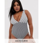 ASOS DESIGN Curve recycled v front swimsuit in mixed mono stripe print