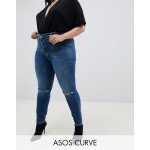 ASOS DESIGN Curve Ridley high waist skinny jeans in extreme dark stonewash with button fly and ripped knee