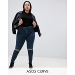 ASOS DESIGN Curve Ridley high waist skinny jeans in london blue wash with ripped knees