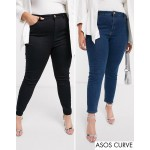 ASOS DESIGN Curve Ridley skinny jeans 2 pack in black and mid blue wash save 16%