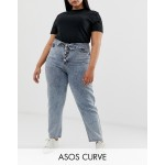 ASOS Design Curve ritson rigid mom jeans with exposed fly and fold over waist detail in light stone wash