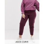ASOS DESIGN Curve Ritson rigid mom jeans with seam detail in oxblood stripe