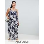 ASOS DESIGN Curve tab back drape hareem maxi dress in navy palm print