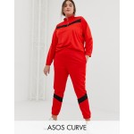 ASOS DESIGN Curve tricot tracksuit with paneled sweat / skinny jogger