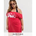ASOS DESIGN Curve USA jersey beach off shoulder tee cover up