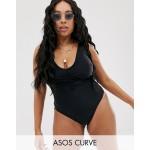 ASOS DESIGN curve v front ruched detail swimsuit in black