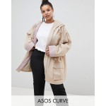 ASOS DESIGN Curve waterfall parka with contrast liner