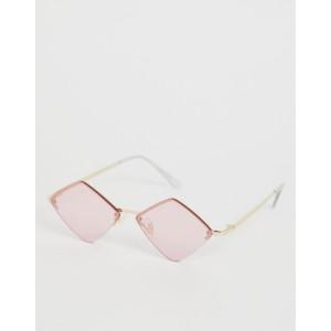 ASOS DESIGN diamond metal half frame sunglasses