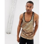 ASOS DESIGN extreme racer back tank in gold sequin