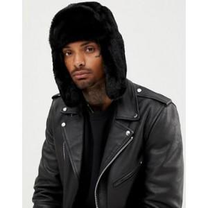 ASOS DESIGN faux fur trapper hat in black