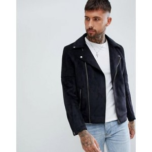 ASOS DESIGN faux suede biker jacket in black