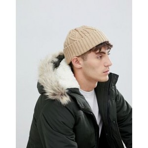 ASOS DESIGN fisherman beanie in camel cable knit