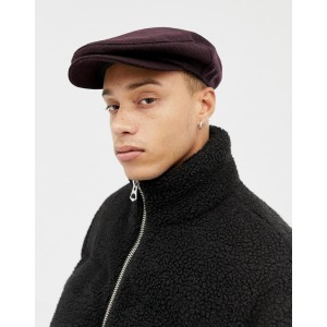 ASOS DESIGN flat cap in burgundy & black check