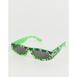 ASOS DESIGN flat top visor sunglasses with angled lens in neon snake